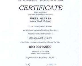 ISO 9001 certification for our factory in Tczew