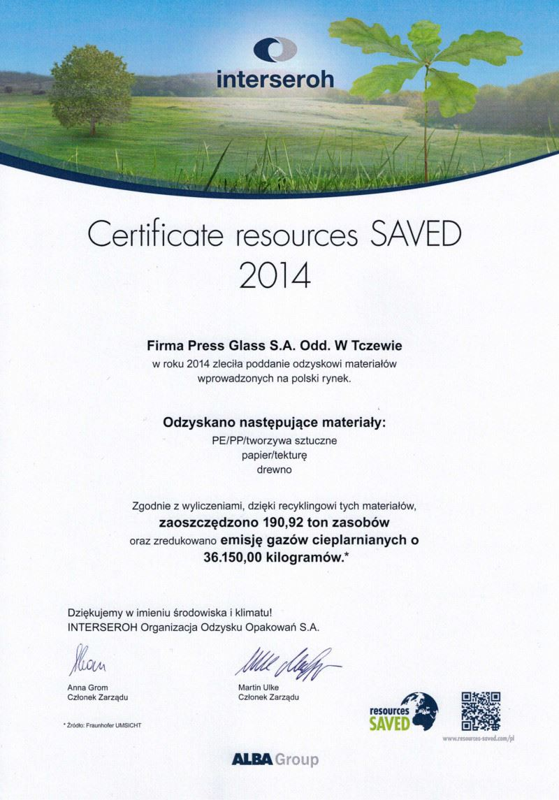 Certificate resources SAVED 2014 - PRESS GLASS Tczew