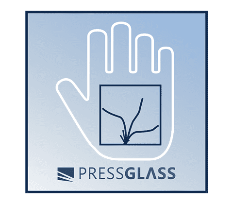 in the event of being smashed the glass panel still remains glued to the foil, minimising the risk of injury to the user from pieces of broken glass